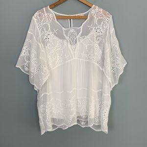 Anthro Meadow Rue White Lace Lined Peasant Blouse